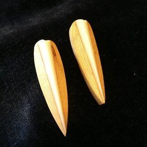 Cpy☘️VINTAGE☘️MONIES style Inlaid Wood Earrings